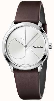 Calvin Klein Seletor de pulseira de couro marrom mínima da mulher K3M221G6