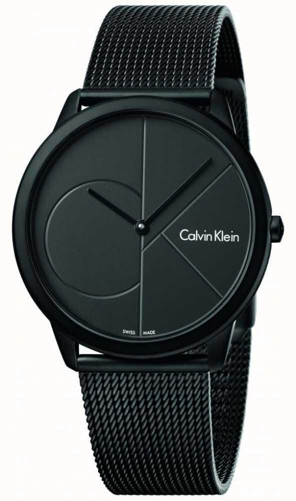 93608ade7a5 Calvin Klein Mens Pulseira De Malha De Aço Inoxidável Preto Mínimo ...