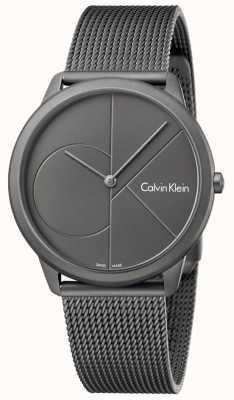 Calvin Klein Mens pulseira de malha de aço inoxidável cinza mínima K3M517P4