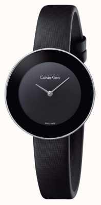 Calvin Klein Correia de couro preto chique da mulher mostrador preto K7N23CB1