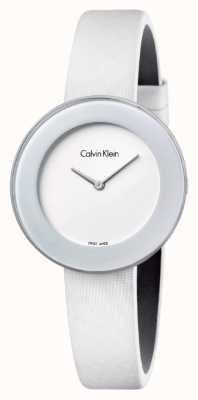 Calvin Klein Correia de couro branco chique da mulher mostrador branco K7N23TK2