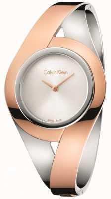 Calvin Klein Mulher sensual dois tons de aço inoxidável pulseira de discagem prata m K8E2M1Z6
