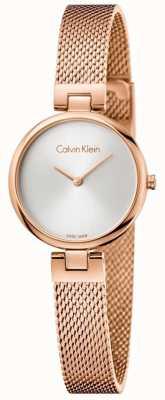 Calvin Klein Pvd autêntico da mulher banhado a pulseira de malha de ouro rosa K8G23626