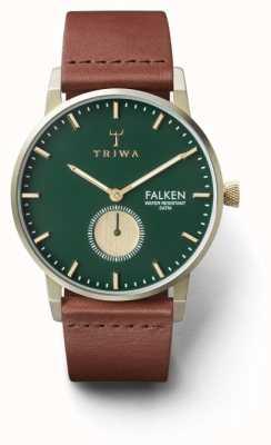 Triwa Mens pinheiro falken marrom couro verde dial FAST112-CL010217