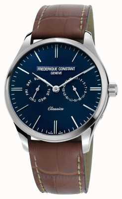 Frederique Constant Mens clássicos pulseira de couro marrom de quartzo azul FC-259NT5B6