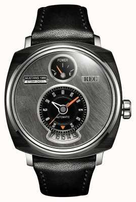 REC P51-01 mustang pulseira de couro preta automática