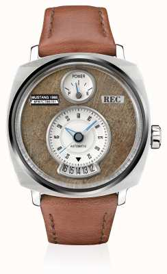 REC P51-02 pulseira automática de couro marrom mustang