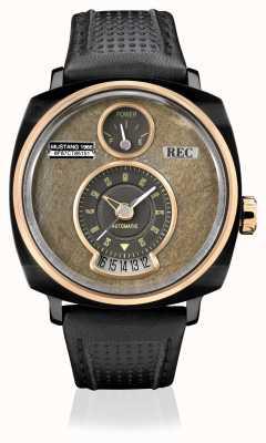 REC P51-03 pulseira de couro preta automática mustang