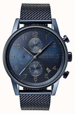 Hugo Boss Mens navigator azul cronógrafo de malha de metal relógio 1513538