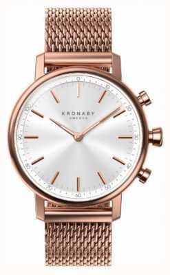 Kronaby 38mm quilate bluetooth rosa banhado a ouro malha smartwatch A1000-1400