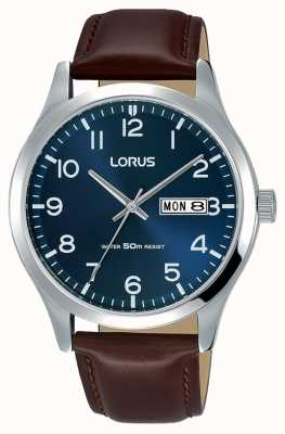 Lorus Mens urbano vestido clássico pulseira de couro marrom RXN49DX9