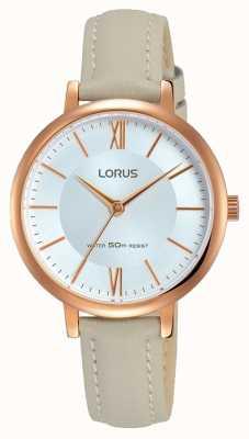 Lorus Womans sunray dial pulseira de couro cinza suave RG264LX7