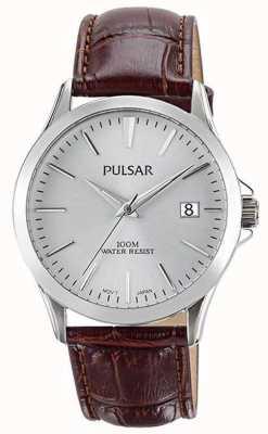 Pulsar Mens pulseira de couro jacaré marrom padrão PS9455X1