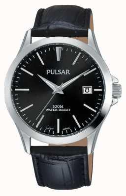 Pulsar Mens pulseira de couro jacaré padrão preto PS9457X1