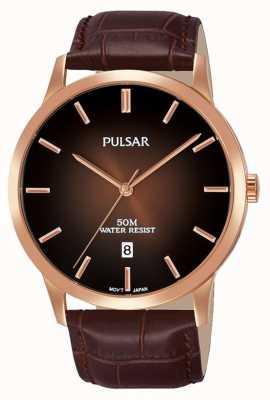 Pulsar Mens marrom pulseira de couro marrom gradação de discagem PS9534X1