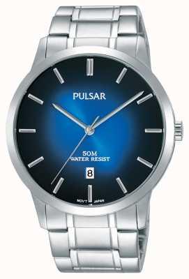 Pulsar Mens prata pulseira de aço azul gradação de discagem PS9527X1
