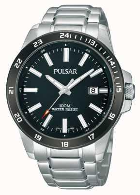 Pulsar Mens pulseira de aço inoxidável mostrador preto PS9223X1