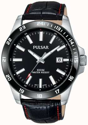 Pulsar Mens pulseira de couro preto mostrador preto PS9463X1