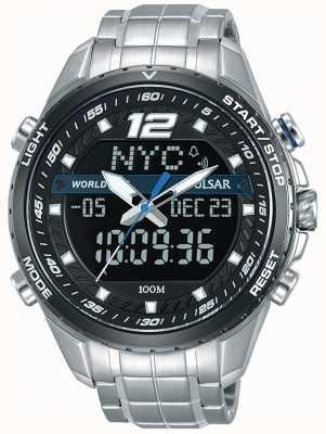 Pulsar Mens analógico digital preto mostrador pulseira de metal prata PZ4027X1