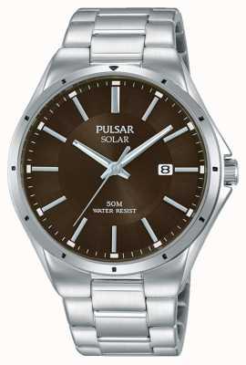 Pulsar Mens pulseira de aço inoxidável pulseira marrom PX3137X1