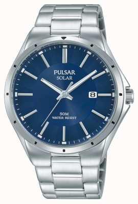 Pulsar Mens pulseira de aço inoxidável mostrador azul PX3139X1