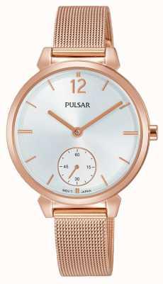 Pulsar Womans rosa banhado a ouro malha pulseira de aço mostrador prateado PN4054X1
