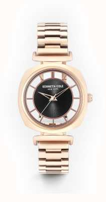 Kenneth Cole Womans black transparency discagem subiu pulseira de aço de ouro KC15108001