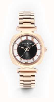 Kenneth Cole Womans black transparency discagem subiu pulseira de aço de ouro KC15108001
