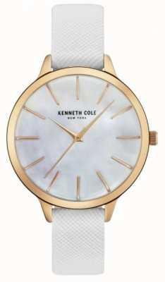 Kenneth Cole Couro branco da mulher de cinta mãe de discagem pérola KC15056001