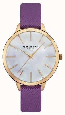 Kenneth Cole Mãe de pulseira de couro roxo da mulher de discagem pérola KC15056002