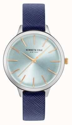 Kenneth Cole Couro azul da mulher de cinta mãe de discagem pérola KC15056003