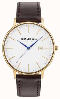 Kenneth Cole Mens branco data dial pulseira de couro marrom escuro KC15059005