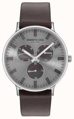 Kenneth Cole Mens multifunções cinza claro mostrador pulseira de couro marrom escuro KC14946001