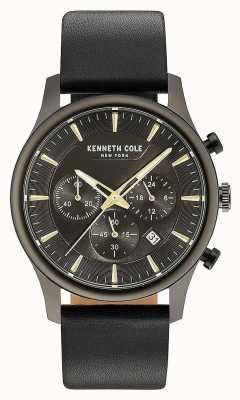 Kenneth Cole Mens multifunções black dial pulseira de couro preto KC15106004