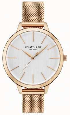 Kenneth Cole Dial branco da mulher subiu pulseira de malha de ouro KC15056014