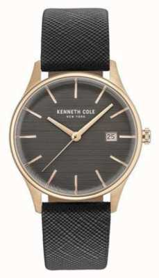 Kenneth Cole Cinto de metal cinza cinza com pulseira de couro KC15109001