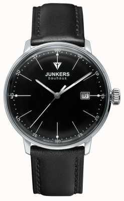 Junkers Mens bauhaus black dial pulseira de couro preto 6070-2