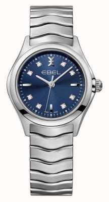EBEL Relógio de aço inoxidável de mostrador azul das mulheres de onda 1216315