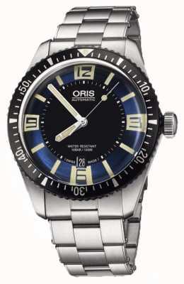 Oris Divers sessenta e cinco discagem automática em aço inoxidável azul 01 733 7707 4035-07 8 20 18