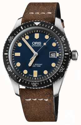 Oris Divers sessenta e cinco mostrador azul pulseira de couro marrom automático 01 733 7720 4055-07 5 21 02
