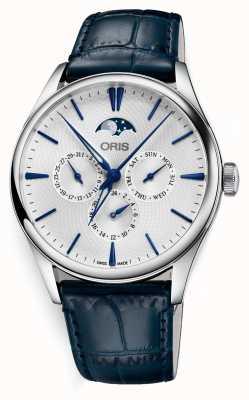 Oris Artelier data complicação automática pulseira de couro azul 01 781 7729 4051-07 5 21 66FC