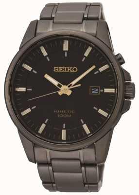 Seiko Mens kinetic preto ion chapeado relógio de aço SKA755P1