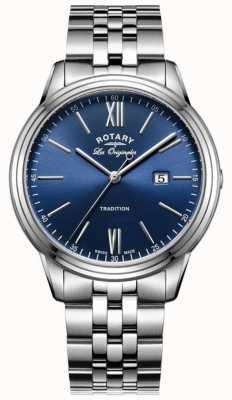 Rotary Mens pulseira de aço inoxidável mostrador azul GB90194/05