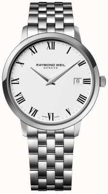 Raymond Weil Mens toccata pulseira de aço inoxidável mostrador branco 5588-ST-00300