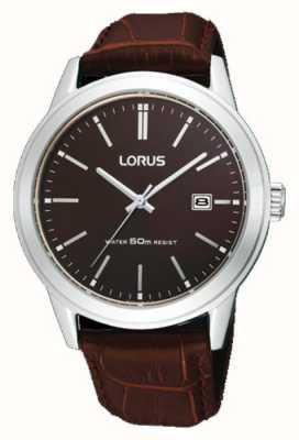 Lorus Relógio de couro marrom para homem 38m RH925BX9