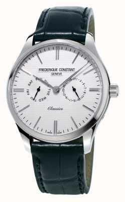 Frederique Constant Mens clássicos pulseira de couro preto / cinta verde da OTAN FC-259ST5B6