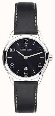 Michel Herbelin Relógio de cinta preta de equinócio das mulheres 16977/14N