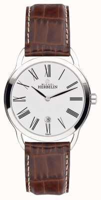 Michel Herbelin Mens equinócio marrom cinta relógio com mostrador clássico 19577/01GO