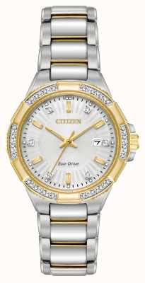 Citizen Relógio de aço inoxidável de duas cores riva diamond feminino EW2464-55A