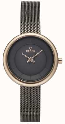 Obaku Relógio de pulseira de malha de granito stille da mulher v146LXVJMJ